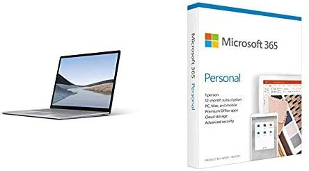 Microsoft Surface Laptop 3, 15 Zoll Laptop (AMD Ryzen 5 3580U, 8GB RAM, 128GB SSD, Win 10 Home) Platin + Microsoft 365 Personal | Box