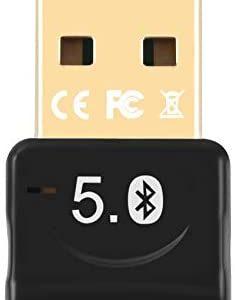 JeoPoom Bluetooth 5.0 USB Adapter, Bluetooth USB Dongle Stick, Bluetooth Empfänger und Sender für Desktop, Laptop, Drucker, Headset, Lautsprecher, kompatibel mit Windows 7/8/8.1/10