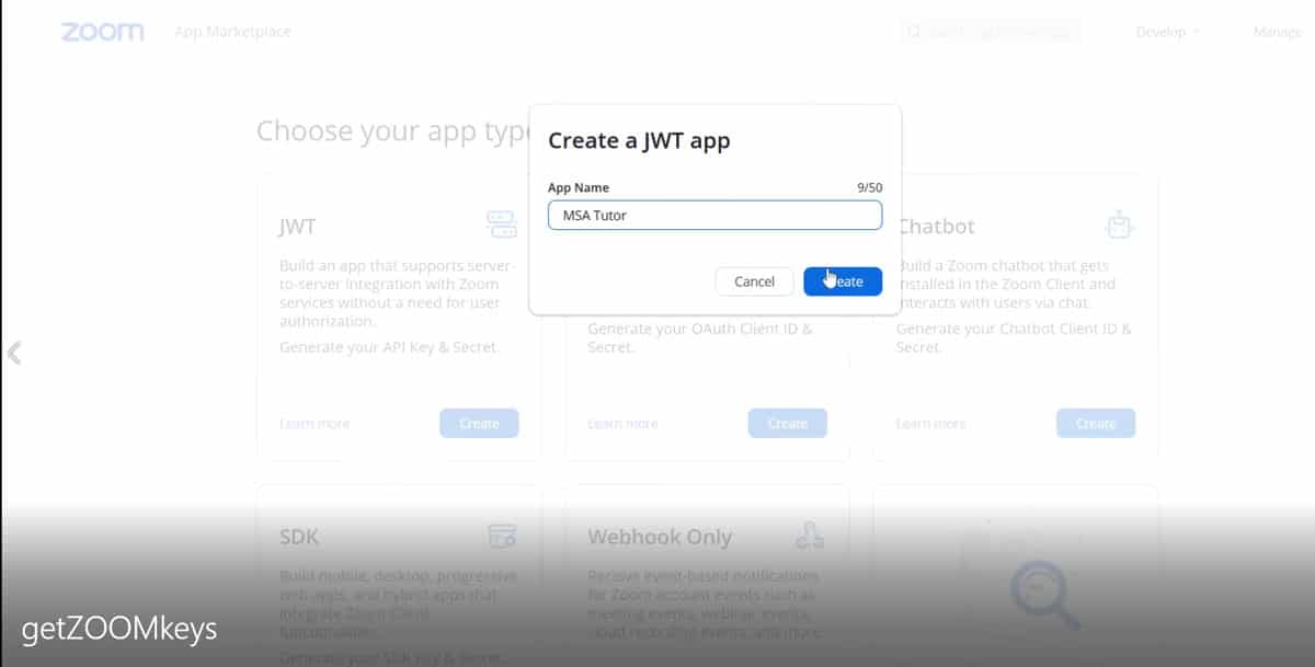 MSA Arabic Tutor - ZOOM API JWT App name Screen