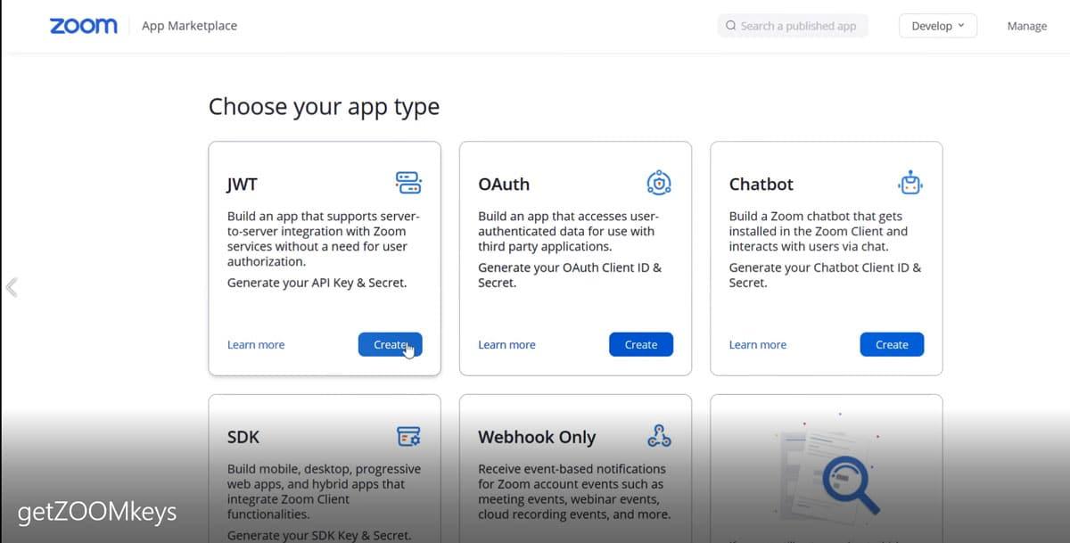 MSA Arabic Tutor ZOOM API - Select JWT create Screen