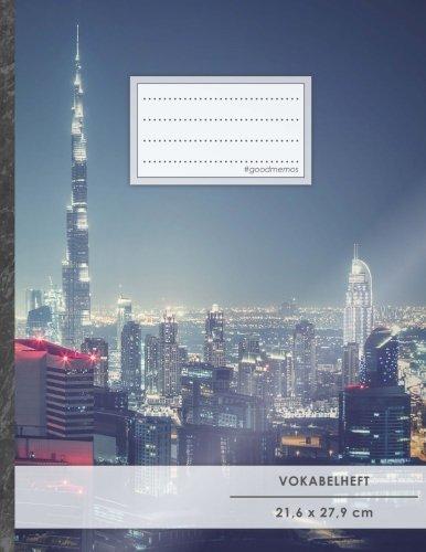 """VOKABELHEFT DIN A4 • 50+ Seiten, Soft Cover, Register, 2 Spalten, Erfolgs-Tacker, """"Arabische Emirate"""" • Original #GoodMemos Schulheft • Sprachen und Vokabeln leicht lernen, Lineatur 53"""