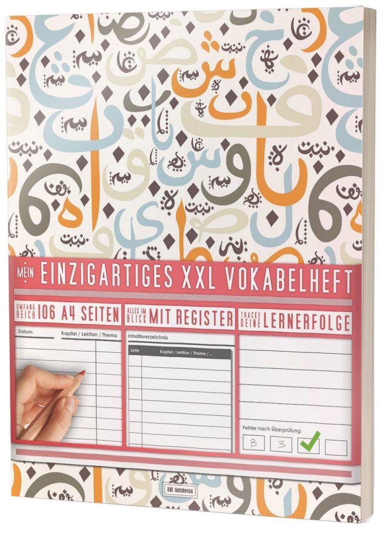 """Mein Einzigartiges XXL Vokabelheft: 100+ Seiten, 2 Spalten, Register / Lernerfolge auf jeder Seite zum Abhaken / PR101 """"Arabische Zeichen"""" / DIN A4 Softcover"""