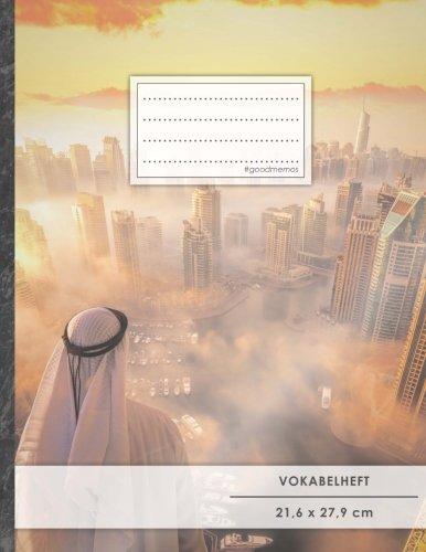 """VOKABELHEFT DIN A4 • 50+ Seiten, Soft Cover, Register, 2 Spalten, Erfolgs-Tacker, """"Arabisch"""" • Original #GoodMemos Schulheft • Sprachen und Vokabeln leicht lernen, Lineatur 53"""